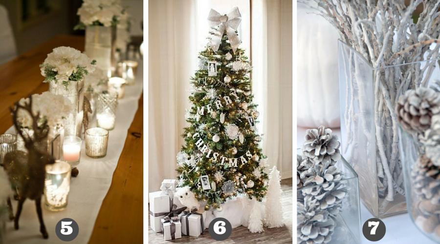 ozdoby świąteczne w bieli