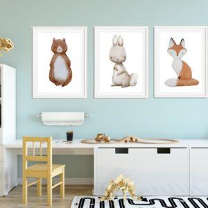 3 obrazki ze zwierzakami do pokoju dziecka