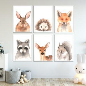 plakaty z leśnymi zwierzakami