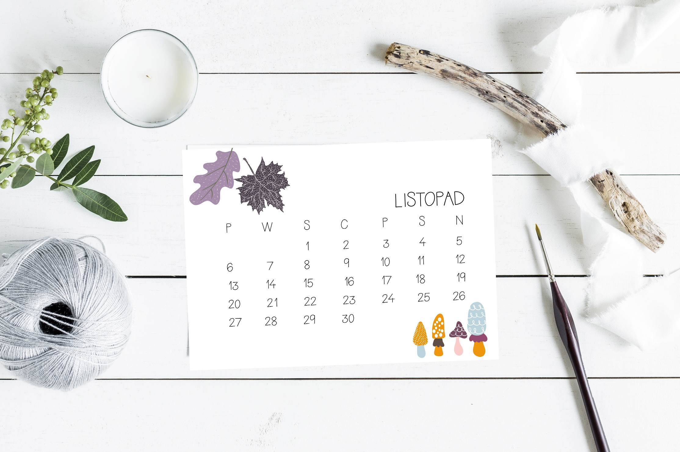darmowy kalendarz na listopad