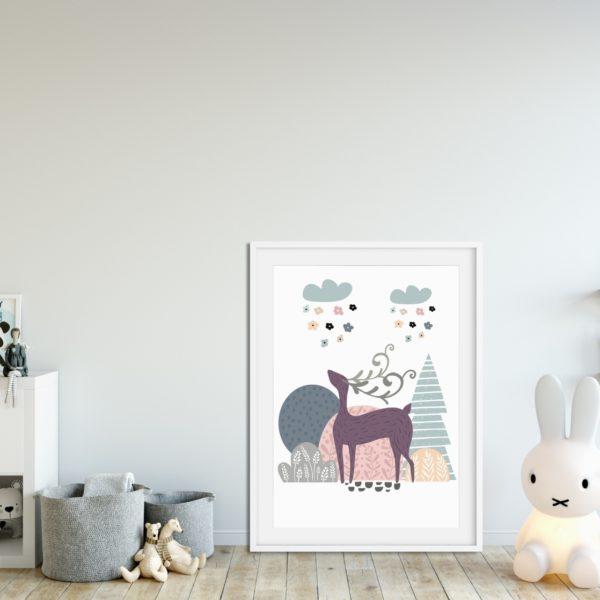 plakat z jeleniem