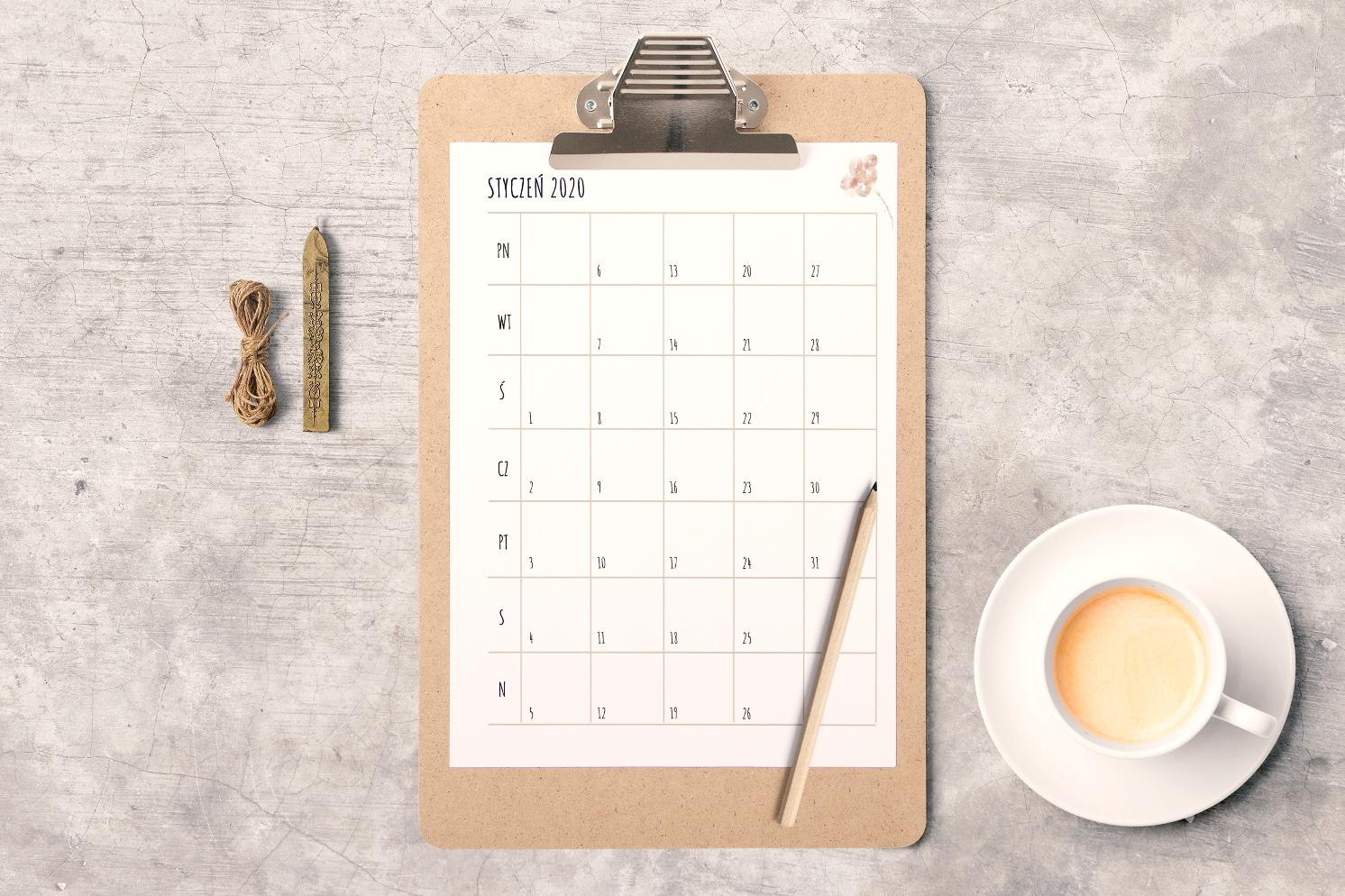 darmowy kalendarz 2020