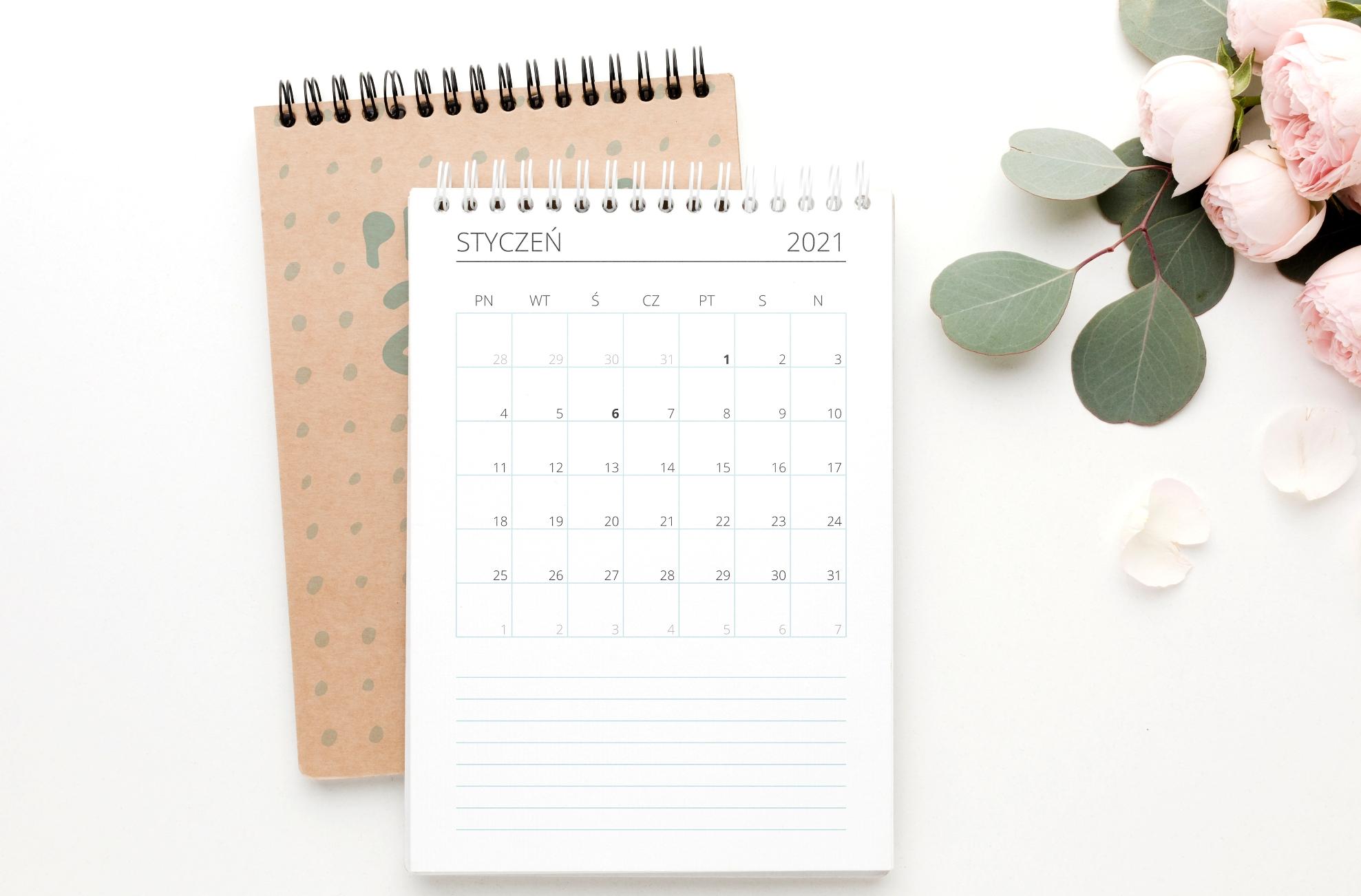 kalendarz 2021 mięta